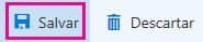 Botão salvar na barra de ferramentas da página de informações comerciais