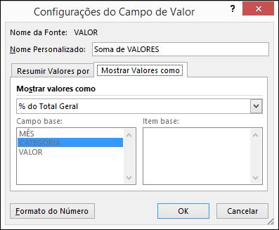 Diálogo Configurações do Campo de Valor da Tabela Dinâmica > Exibir Valores como