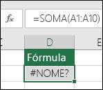 O Excel exibirá o erro #NOME? quando o nome de uma função tiver um erro de digitação