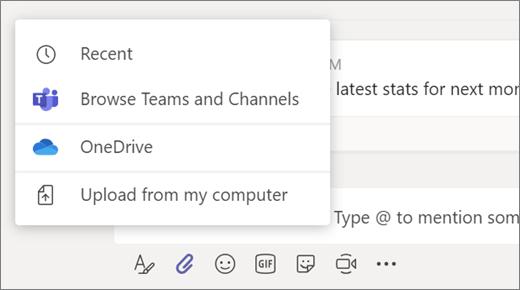 Opções de carregamento de arquivos para uma mensagem
