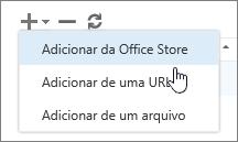 Captura de tela das opções disponíveis em Gerenciar ferramentas de suplementos, que incluem adicionar, excluir e atualizar. As seleções em Adicionar são mostradas, que incluem adicionar da Office Store, adicionar a partir de uma URL e adicionar a partir de um arquivo.