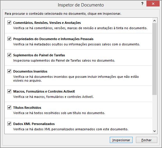As opções na caixa de diálogo Inspetor de Documento são exibidas