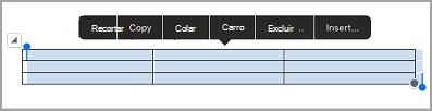 barra de comando de tabela de iPad