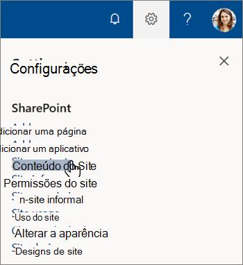 O menu configurações no SharePoint, com conteúdo do site realçado