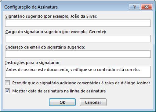 caixa de diálogo Configuração de Assinatura