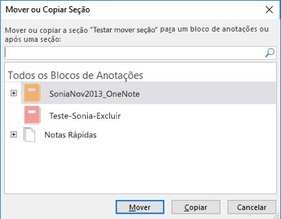 OneNote para Windows 2016 caixa de diálogo da seção mover ou copiar