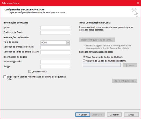Inserir suas informações de servidor POP ou IMAP