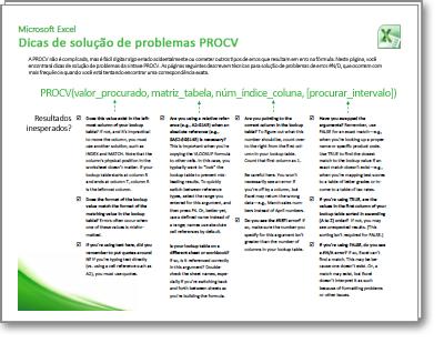 Miniatura do cartão de Dicas de solução de problemas do PROCV