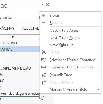 Clicar com o botão direito do mouse nas opções de menu para os títulos no Painel de Navegação