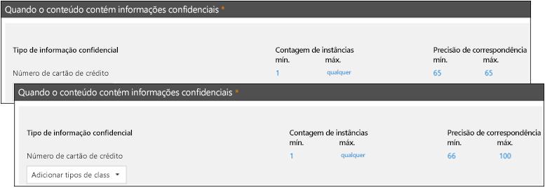 Duas regras com intervalos diferentes para precisão de correspondência