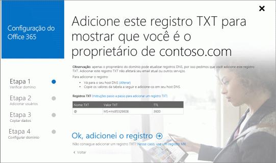 Adicionar registro TXT para verificar se você é o proprietário do domínio.