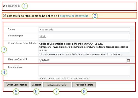 Formulário de fluxo de trabalho Coletar Comentários com texto explicativo sobre os campos
