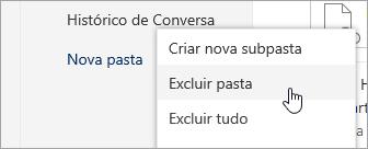 Uma captura de tela da opção de menu Excluir pasta