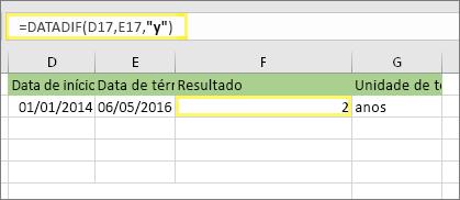 "= DATADIF (D17, E17, ""y"") e resultado: 2"