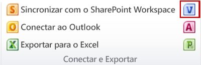 Botão Criar diagrama do Visio no grupo Conectar e exportar na guia Lista