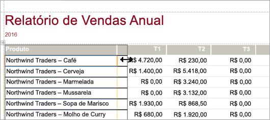 Trecho de tela de produtos de relatório de vendas anual