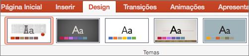 Clique em Design e em Temas.