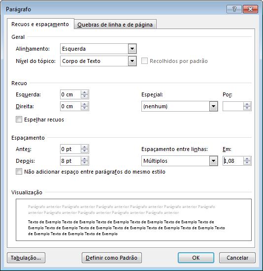 Captura de tela da caixa de diálogo Parágrafo no Word, mostrando as guias Recuo e Espaçamento.