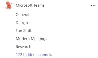 Uma equipe chamada Microsoft Teams tem canais para Geral, Anúncios, Design, Diversão e Pesquisa. Mais canais estão ocultos.
