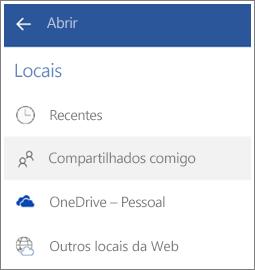 Captura de tela de como ver arquivos que outras pessoas compartilharam com você no Android.