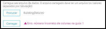 Exemplo de erro de validação de upload do CQD