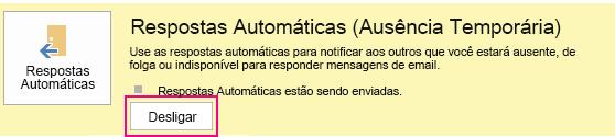 Captura de tela da caixa de diálogo Desativar Mensagens Automáticas do Outlook