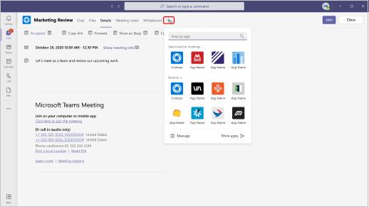A imagem mostra onde você pode encontrar aplicativos para adicionar em um convite de reunião.