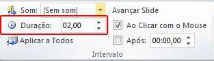Digite o número de segundos da duração da transição na caixa de texto Duração do grupo Intervalo.