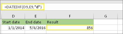 """=DATADIF(D9;E9;""""d"""") com resultado 856"""