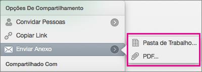 Envie sua planilha como uma pasta de trabalho do Excel ou um arquivo PDF