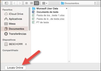"""O menu Abrir Arquivo olhando para o modo de exibição """"No meu Mac""""."""