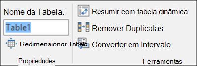 Renomear uma tabela usando a faixa de opções