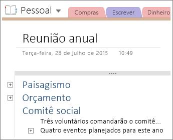 Captura de tela de uma página no OneNote 2016 com estrutura hierárquica.