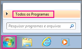 Localizar os aplicativos do Office usando Todos os Programas no Windows 7