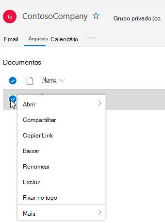 Mostrando opções de excluir e renomear arquivo