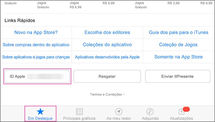 Seção de destaque da App Store