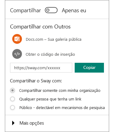 Captura de tela do painel Compartilhar do Sway