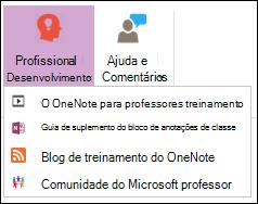 Captura de tela dos botões disponíveis na guia desenvolvimento profissional