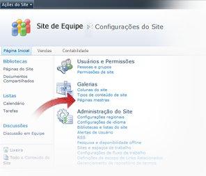 Selecionando Tipos de Conteúdo de Site da janela Configurações do Site