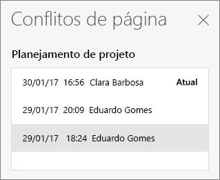 Painel Conflitos de Página mostrando três versões conflitantes de uma página