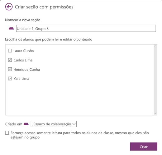 Link de permissões do Espaço de Colaboração dentro da seção ManageCreate com a caixa de diálogo de permissões com o nome da nova seção e os alunos selecionados. Selecione Criar.