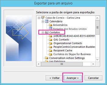 Selecione a pasta de contatos que você deseja exportar.
