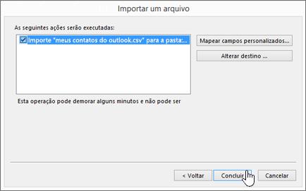 Quando você importa contatos do Gmail para sua caixa de correio do Office 365, clicar no botão Concluir inicia a migração