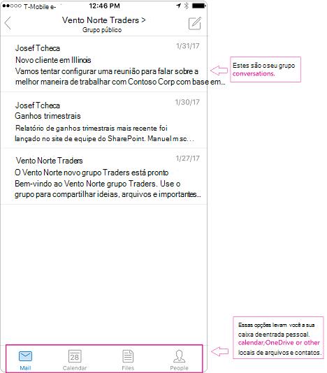 Modo de exibição de conversa de um grupo no aplicativo móvel do Outlook