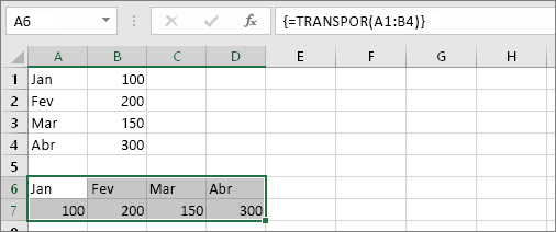 Resultado da fórmula com as células A1: B4 transpostas nas células A6:D7