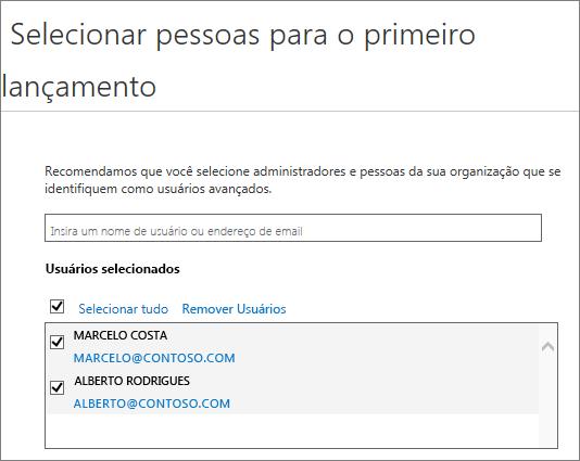 Adicionar usuários aos programas de lançamento do Office 365