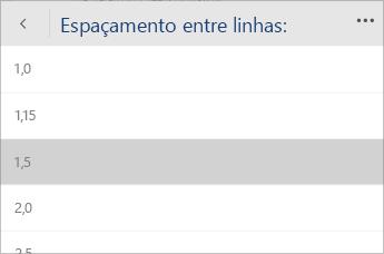 Captura de tela do menu do Word Mobile para selecionar o valor do espaçamento entre linhas.