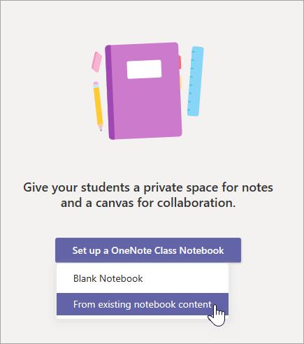 Crie um bloco de anotações de classe a partir de um conteúdo existente.