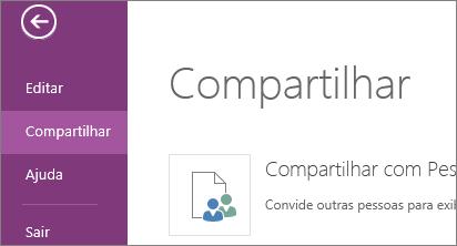 comando compartilhar no onenote online