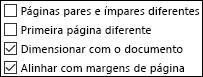 Opções de cabeçalho e rodapé na caixa de diálogo Configurar página